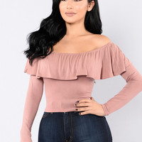 Ruffle You Up Top - Mauve