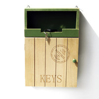 Home Decor Vintage Weathered Wooden Green Alphabet Home Accessory Box [6282890822]