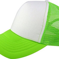 Enimay Two Tone Curved Mesh Trucker Hat Cap Lime Green