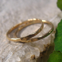 Rings Fine 14k Gold Filled Hammered Rings Set of 2 Stacking/Finger/Toe/Knuckle/Thumb