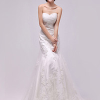 2013 Modern Gorgeous  Sweetheart  Sleeveless Court  Long White Chiffon Lace Wedding/Bridesmaid/Evening Dress with Appliques