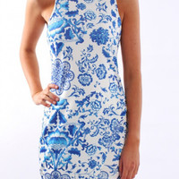 Tile Print  Asymmetrical Bodycon Dress