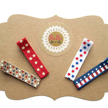 Baby Hair Clips, Fourth of July Clips, Infant Hair Clips, Toddler Hair Clips, Red, White and Blue, Clip Bows, Toddler Clip, Ready To Ship