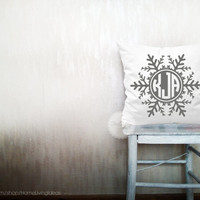Monogrammed pillows decorative throw pillows snowflake monogram pillows letter pillows throw pillows Christmas pillow 22x22 inches pillows