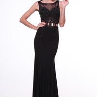 PRIMA 17-4022 Black Beaded High Neck Sheer Illusion Prom Dress Evening Gown