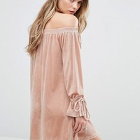 Glamorous Off The Shoulder Dress With Tie Up Sleeves at asos.com