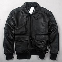 2017 Men's Air Force Flight Jacket Solid Genuine Leather Jacket Men Motorcycle Rider Cow Leather Coat Bomber Jacket Male
