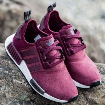 """Fashion """"Adidas"""" Women Trending NMD Running Sports Shoes Wine red color"""