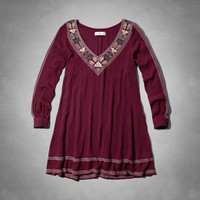 Embroidered Peasant Shift Dress