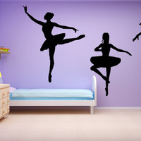 Ballet Wall Decal Set Dancer Leaping SIlhouette Wall Sticker Art Vinyl Girls Room Decor