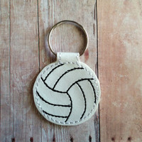 Volleyball Key Chain, White Vinyl with Black Embroidery, Hand Cut, on Split Key Ring, Sports Key Fob