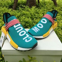 Best Online Sale Adidas NMD Human Race Pharrell Williams HU Sun Glow Sport Running Shoes Classic Casual Shoes Sneakers