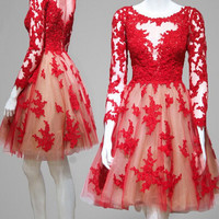 Elegant A-line Long Sleeve Red Homecoming Dress