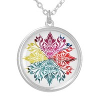 Vibrant Colorful Floral Design Pendant Necklace