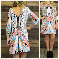 Electric Connection Geometic Print Shift Dress