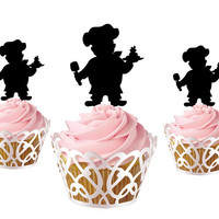 6 pcs a set chef CupCake toppers cake decor for mom birthday party, acrylic cupcake toppers for mom, funny cake topper supplies