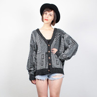 Vintage 80s Sweater Black Gray Geometric Knit Cardigan 1980s Jumper Cosby Sweater New Wave Oversized Mod Le Tigre Sweater L Extra Large XL