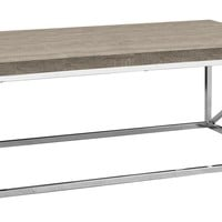 Coffee Table - Dark Taupe With Chrome Metal