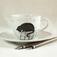 black cat cup, hand painted tea cup cat coffee cup pet portraits black cat on the roof silhouette