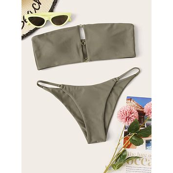 Ring Linked Bandeau With Cheeky Bikini Set