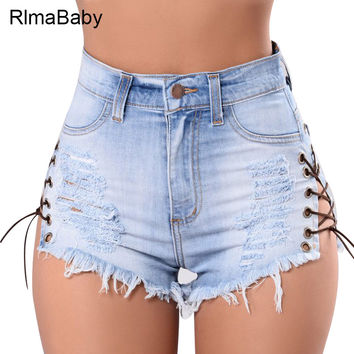 RlmaBaby 2017 Summer New Side Lace Up Button Denim Shorts Sexy High Waist Fringe Lace Button  Bodycon Women Shorts Jean Short