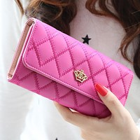 New 2015 casual high-capacity women wallets Lingge metal crown lady long day clutch wallet high quality purse for women