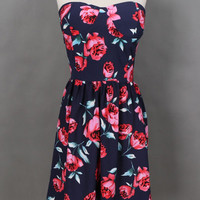 Blue Rose Print Strapless Sheath Pleated Mini Dress