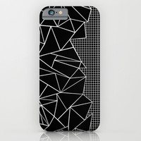 Abstract Grid Outline White on Black on Side iPhone & iPod Case by Project M