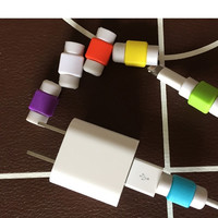 Hot sell 2pcs candy color charging line protection data cable headset protection Earphone protector For iphone For ipad line (Color: Multicolor) = 1958331204
