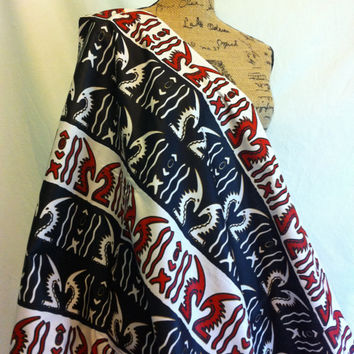 African CHIWARA Print Fabric by the HALF YARD--Red, Black, and White