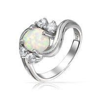 Bling Jewelry Vintage Style Synthetic Opal CZ Oval Engagement Ring Silver