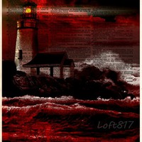 Lighthouse on cliff, creepy light house, red and black art, nautical decor