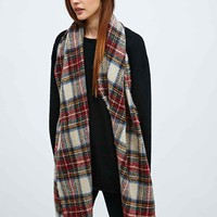 Oversized Brushed Plaid Scarf in Cream - Urban Outfitters
