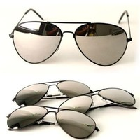 Black Frame & Mirrored Lens Aviator 3-Pack w/ Drawstring Sunglass Pouch