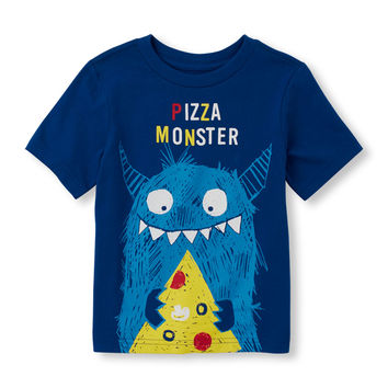 Toddler Boys Short Sleeve 'Pizza Monster' Graphic Tee   The Children's Place