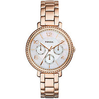 Fossil Ladies' Jacqueline Multifunction Glitz Rose Gold Watch - Rose G