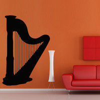 Wall decal art decor decals sticker harp tool play sound music note song melody picture room (m864)