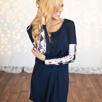 Up To My Elbows In Aztec Tunic Navy