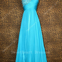 Gorgeous blue one-shoulder Beadings Floor-Length the prom dresses