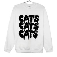 Cat Sweatshirt - Black on White - Cats Cats Cats Drippy Slime Kawaii Grunge