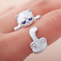 Silver Plated Cute Cat Ring for Women