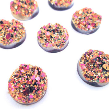 10 metalic pink and gold 12mm round multicolor resin druzy cabochons