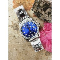 Rolex Fashionable Boys Girls Casual Diamond Blue Dial Movement Watch Business Wristwatch