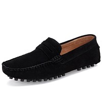 Men Casual Suede Leather Loafers Black Solid Leather Driving Moccasins Gommino Slip on Men Loafers Shoes Male Loafers Big Size46
