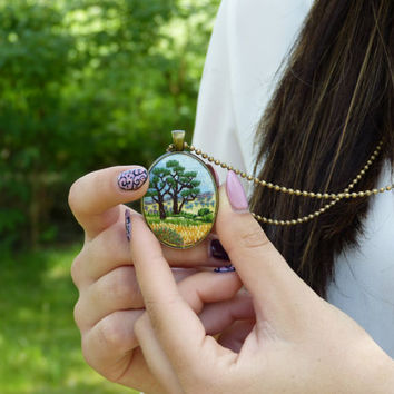 Embroidery necklace Landscape Africa pendant Embroidered jewelry Bronze tone needlework  hand-painted, hand embroidered