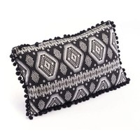 Black & White Pom Pom Tribal Pillow