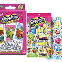 """Shopkins """"Once you Shop, You Can't Stop"""" Kids Jumbo Card Game Plus Bonus Shopkins Imaginative Play Collectable Sticker Book!"""