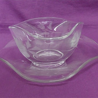 Vintage Etched Glass Bowl and Matching Plate