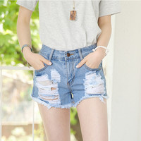 Denim Ripped And Frayed Button Zippered Shorts