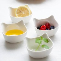 Cute Cartoon Cat Shape Ceramic Food Container, Bowl Size: S or L
